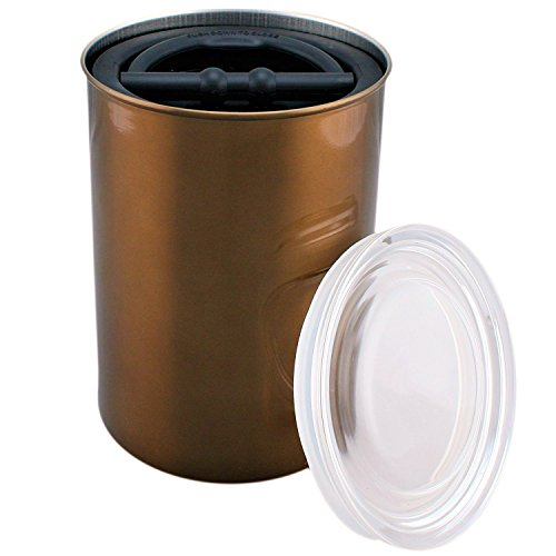 Airscape Coffee and Food Storage Canister, 64 oz - Patented Airtight Lid Preserves Food Freshness - Stainless Steel - Mocha Brown