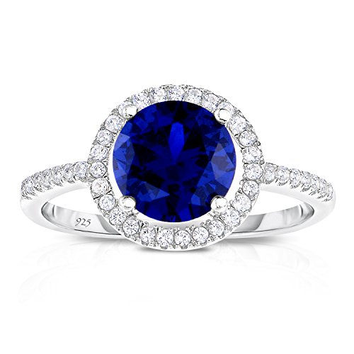 Sterling Silver Created Kashmir Blue Sapphire with White CZ Helo Jacket Princess Diana Engagement Ring (9) (Lab Ring Sapphire Created)