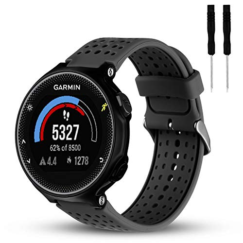 Wizvv Compatible Bands Replacement for Garmin Forerunner 235 220 230 620 630 735, Soft Comfortable Smooth Silicone Wristband for Women Men (Black)