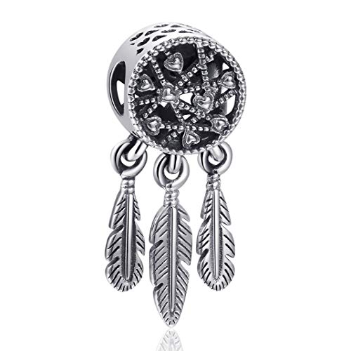 (Angemiel 925 Sterling Silver Feather Spiritual Dream Catcher Dangle Charm for Snake Chain Bracelets Necklace, Lucky Charms Inlaid with 5A Cubic Zirconias)
