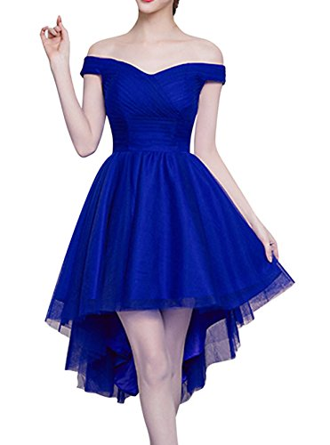 Haut Bas Dentelle Épaule Large Jusqu'à Robe De Retour À La Maison De Bal Bleu Royal Bess Femmes De Mariée