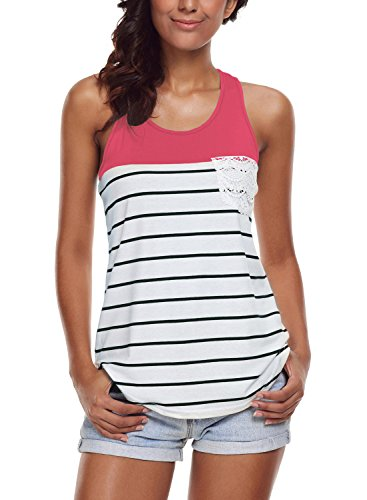 FARYSAYS Women's Casual Color Block Striped Racerback Cami Tank Tops,Rosy,(US 18-20)XXL