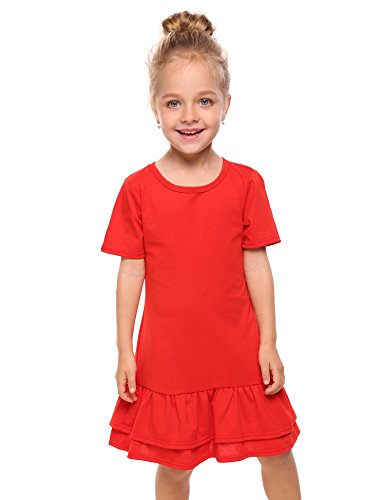 Red School Dress (Arshiner Girls Cotton Long Sleeve A-Line Ruffle Hem Dress for School,Red-short Sleeve,160(Age for 10-12Y))