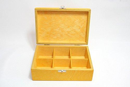 Wooden Tea Box / 6 Compartments Box / Wooden Keepsake Box / Jewelry Box / Yellow Box / Plywood Box