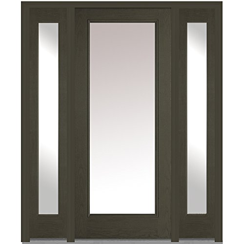 National Door Company Z011611R Fiberglass Oak New Ebony Right Hand Prehung In-Swing Entry Door with 14'' Sidelites, Clear Glass, Full Lite, 36'' x 80'' by National Door Company