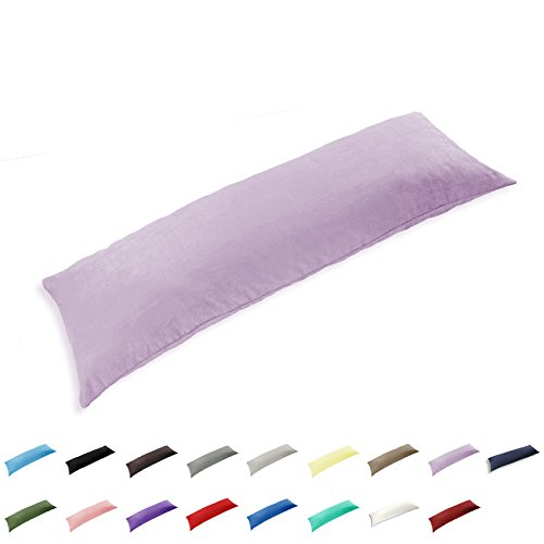 TAOSON 100% Cotton 300 Thread Count Envelope Style Body Pillow Cover Pillowcase Pillow Protector Cushion Cover Non Zippered Only Cover No Insert (Light Purple,21