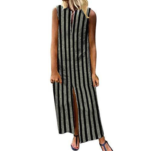 【HebeTop】 Women's Plus Size Sleeveless Cotton Linen Dress Summer Midi Dresses Gray ()