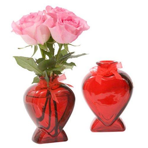 Valentines Day Heart-Shaped Red Glass Bud Vase, (Shaped Bud Vase)