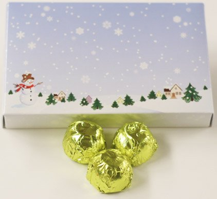 Scott's Cakes White Chocolate Lemon Italian Butter Cream Candies with Chartreuse Foils in a 1 Pound Winter Wonderland Box