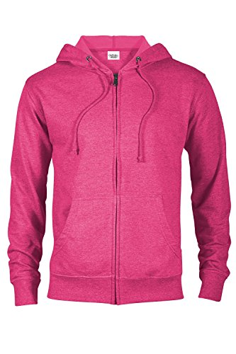 (Casual Garb Hoodies for Men Heather French Terry Full Zip Hoodie Hooded Sweatshirt Heliconia Heather Large)