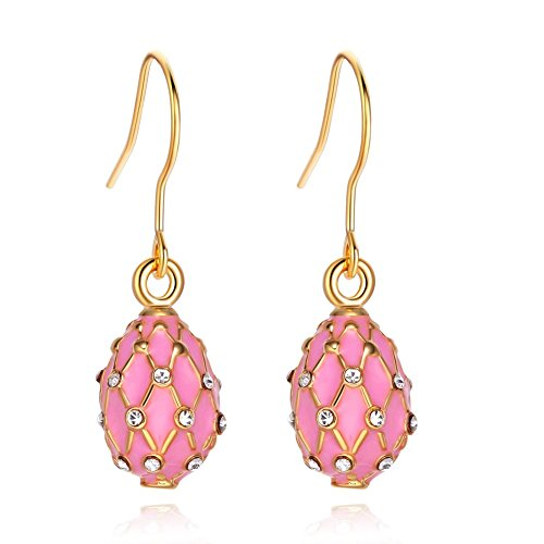 TF Charms Egg Charm Earrings with Swarovski Crystals Elements,925 Sterling Silver Hooks (Pink)