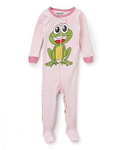 Footed Sleeper Girls Frog (Elowel Baby Girls footed