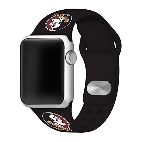 (Affinity Bands Florida State Seminoles Black Silicone Sport Band Compatible with Apple Watch - Band ONLY (38mm/40mm)