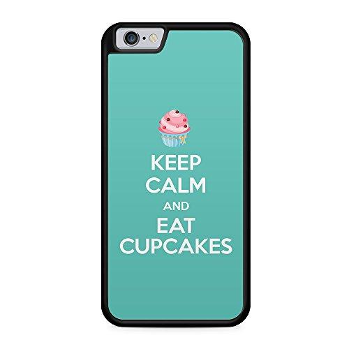 Keep Calm And Eat Cupcakes - Hülle für iPhone 6 Plus & 6s Plus SILIKON Handyhülle Case Cover Schutzhülle Hardcase - Coole Kekse Cookies Süßigkeiten Candy Bedruckte Design Ausgefallene Geile Spruch Spr