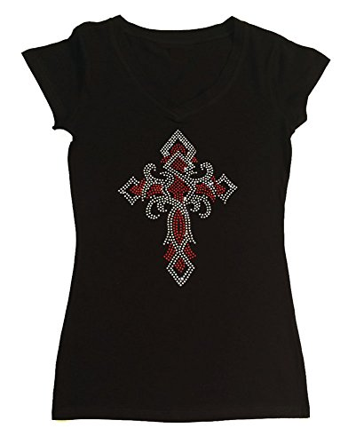 - Womens Fashion T-Shirt with Red Twisted Cross in Rhinestones (1X, Black Cap Sleeve)