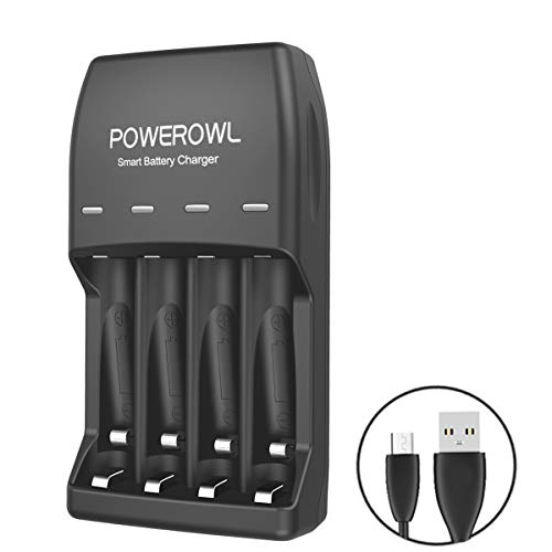POWEROWL AA AAA Smart Battery Charger(Micro Inport) with Fast Charging Indicator for Ni-MH Ni-CD Batteries No Adapter