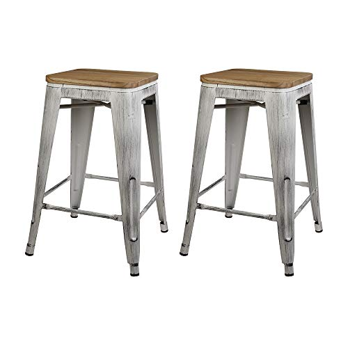 GIA 24-Inch Backless Stool with Wooden Seat, Antique White/Light Wood, 2-Pack