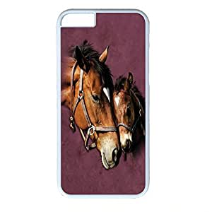Hard Back Cover Case for iphone 6,Cool Fashion Art White PC Shell Skin for iphone 6 with Horse
