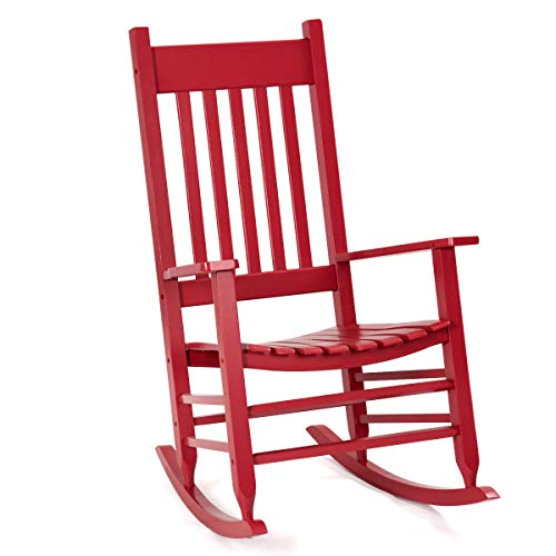 AK Energy Red Solid Wood Rocking Chair Porch Rocker Indoor Outdoor Deck Patio Backyard Living Room Home Furniture 300Lbs Capacity