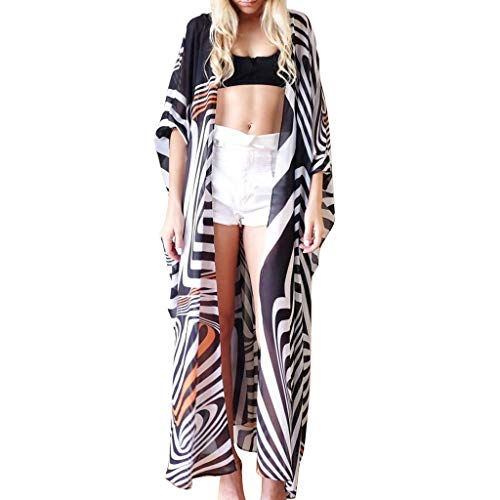 WANQUIY Women's Swimsuit Striped Beach Cover Up Chiffon Casual Zebra Print Beach Long Blouse Cardigan Black