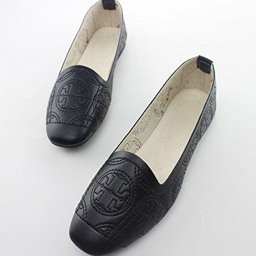 flat Black Square shoes thin embroidery Women's head gwABTnqq