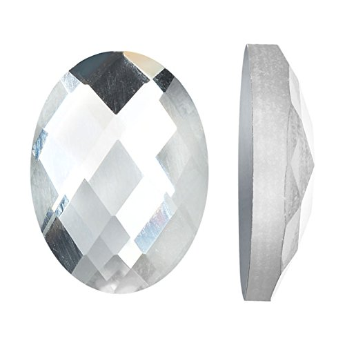 Beadaholique Mirror Flat Back Glass Cabochons, 13x18mm Faceted Ovals, 4 Pieces, Clear ()
