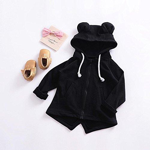 Omiky® Baby-Säuglingskind-Jungen-Mädchen-Karikatur-Ohren-mit Kapuze Mantel-Umhang-Oberseiten Warme Kleidung Schwarz