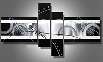 Black And White Abstract Wall Canvas Art Sets Painting For Home Decoration  100% Hand Painted