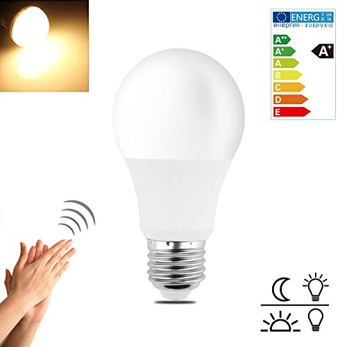 Minger Smart LED Sensor Bulb,5W Sound Voice Activated Bulb for Stairs, Garage, Corridor, Walkway, Yard, Hallway, Patio, Carport (E26/E27,425lumen,Soft White)