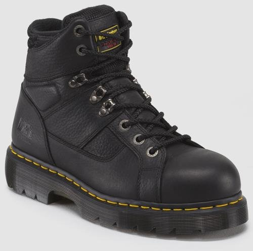 (Dr. Martens Men's Ironbridge Ex-Wide ST-M, Black/Industrial Grizzly, 10 UK/11 XW US)