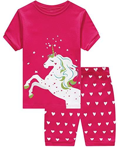 Girls Short Pajamas Unicorn Toddler Pjs Clothes Kids Sleepwear Summer Shirts Size 5 -