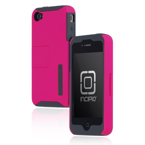 Incipio Silicone Silicrylic (Incipio iPhone 4/4S SILICRYLIC Kickstand Hard Shell Case with Silicone Core - 1 Pack - Retail Packaging - Gray/Magenta)