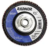 Radnor 4 1/2'' X 5/8'' - 11 80 Grit Zirconia Alumina Type 29 Flap Disc with Fiberglass Back (4 Pack)