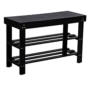 black wood entryway benches with shoe storages | Amazon.com: Songmics Entryway Wooden Shoe Bench 2-Tier ...