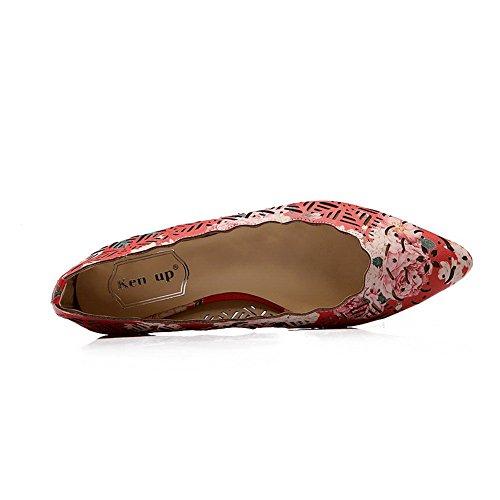 Balamasa Stampa Ornamento Pizzo Femminile Scava Fuori Il Modello Leopardo In Microfibra Pumps-shoes Rosso