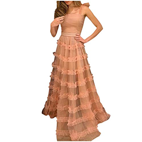 (Sunhusing Ladies Solid Color Sexy Bandeau Ribbon Sling Lace Tulle Splicing Mopping Dress Prom Gown Long Dress Pink)