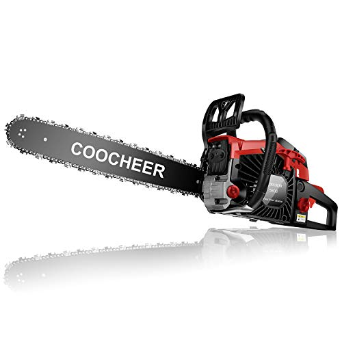 """Yiilove 20"""" 58CC Gas Powered Chainsaw 2 Stroke Handed Petrol Gasoline Chain Saw for Cutting Wood with Tool Kit (Red)"""