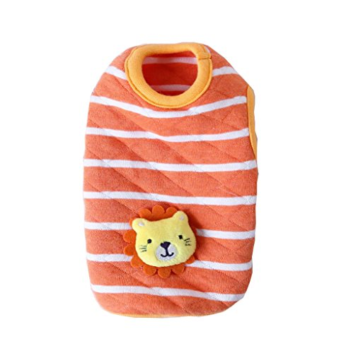 BBEART Dog Clothes,Lovely Small Dog Puppy Clothes Soft Warm Cotton Vest Dog T-Shirt Coat Cat Clothing For Small Dog Puppy Chihuahua Yorkshire (XXS---15cm, Orange Striped Lion)