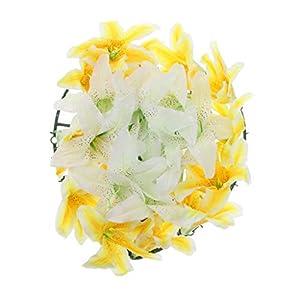Baoblaze Artificial Lily Funeral Memorial Silk Flower Wreath Tomb Sweeping Cemetery Flower Wreath Decoraion - B 44
