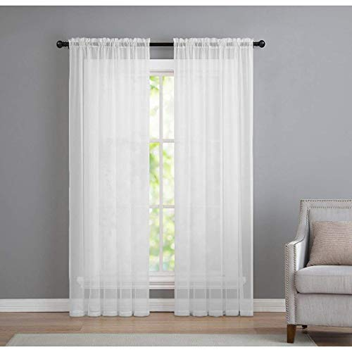 GoodGram 2 Pack: Basic Rod Pocket Sheer Voile Window Curtain Panels in White (84 in. - Sheer Fair