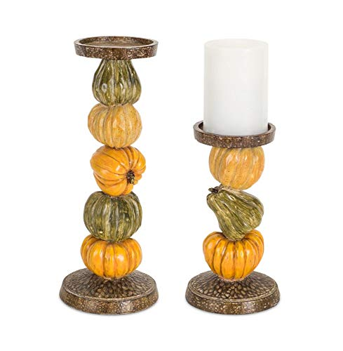 13.5 Orange and Green Home Decorative Antique Pumpkin Gourd Candle Holders (Holders Candle Gourd)