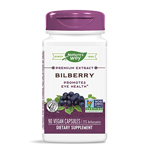 Natures Way Bilberry Standardized Extract Capsules For Healthy Eye Funtion – 60 Ea pack of 6