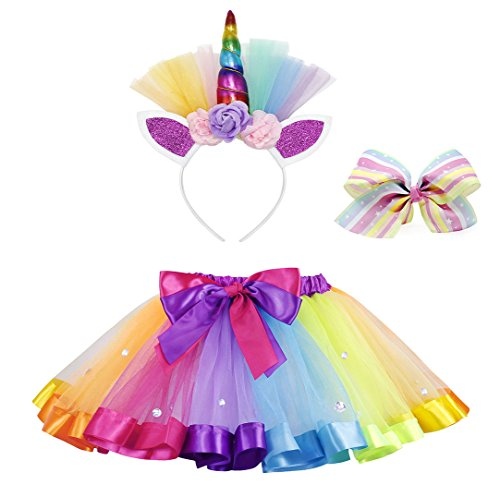 Cotrio Layered Ballet Tulle Rainbow Tutu Skirt for Girls Dress up with Colorful Hair Bows and Headband Halloween Costumes (L, 6-7Years, -