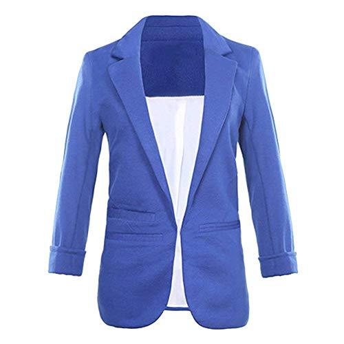 Giacca Huixin Donna Outwear Puro Saphirblau Manica Elegante Semplicemente Tailleur Casual Camicia Colore Tailleur 3 Da Estivi Ufficio Fashion 4 Leggero Bavero Business r57rqw