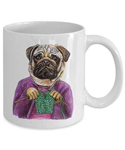 Funny Pug Knitting Mug - Cozy Ceramic Knitting Cup (11oz)