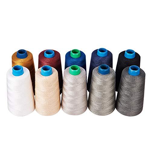 BENECREAT 10色 1600m 綿糸 縫製糸 10枚針と一つ紐通り付 手織り糸 (カラー 2)