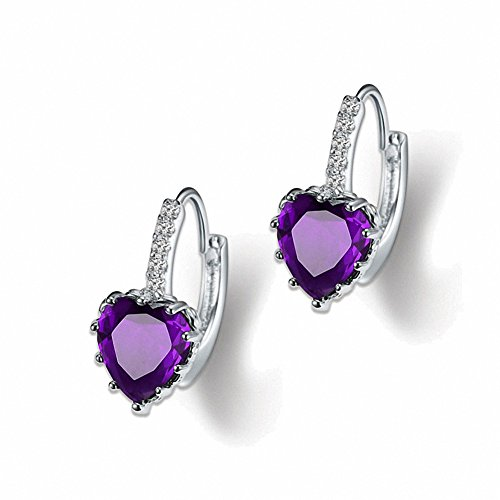 megko 925 Sterling Silver Heart Cubic Zircon Crystal Huggie Hoop Earrings Leverback Drop Earrings for Women Girls(Purple) (Heart Childrens Earrings Leverback)