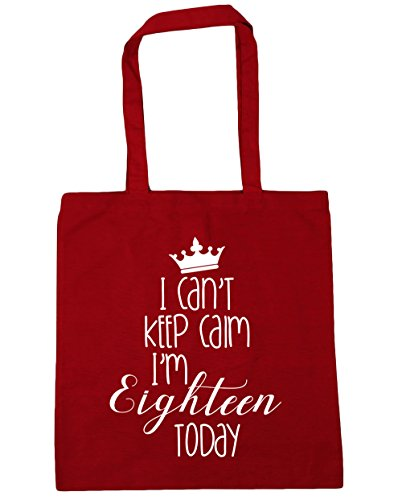 HippoWarehouse i cant Keep Calm I'm Achtzehn Today Einkaufstasche Fitnessstudio Strandtasche 42cm x38cm, 10 liter - Klassisch Rot, One size