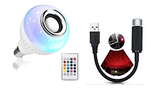 YIT LED Wireless RGB Smart Music Light Bulb Speaker, Colour Changing with Remote Control and USB Car Light