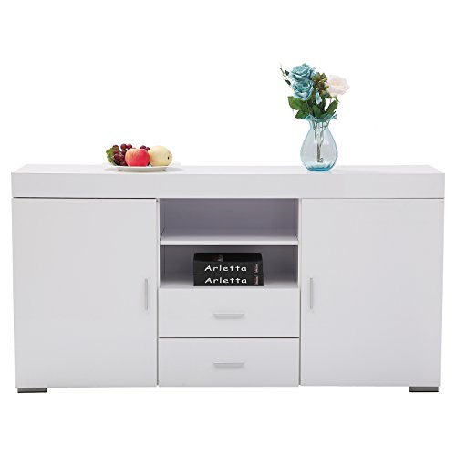 GTM Sideboard Table Cabinet Cupboard Dining Buffet 2 Doors /2 Drawers Living Room Furniture (White Sideboard Table)